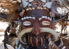 亚洲图腾可怕木面具  礼节雕塑头  狂欢节装饰 Trible?? 古老宗教面具 免版税图库摄影