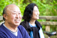 亚洲夫妇愉快的前辈 库存照片