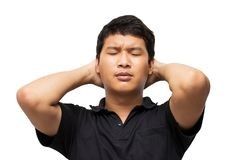 亚洲失望人感受画象和的姿态或张力 免版税库存图片