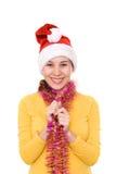亚洲女孩帽子s圣诞老人 图库摄影