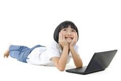 亚洲女孩平底锅学校 库存照片