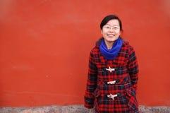 亚洲女孩玻璃佩带 免版税库存照片