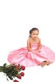 亚洲女孩红色玫瑰 库存图片