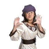 亚洲姿态女孩惊奇 免版税库存照片