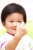 亚洲婴孩姿态 免版税库存照片