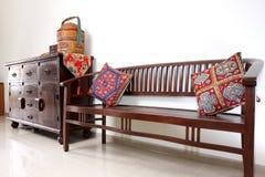 亚洲家具柚木木材 库存照片
