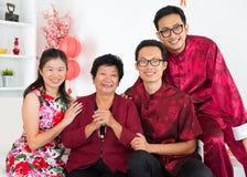 亚洲家庭聚会。 免版税库存照片