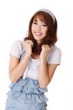亚洲快乐的女孩年轻人 免版税库存照片