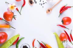 亚洲成份食物新鲜的香料菜蕃茄,辣椒,大蒜,胡椒,与空间的羽毛顶视图文本的 免版税库存照片