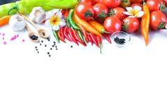亚洲成份食物新鲜的香料菜蕃茄,辣椒, g 库存图片