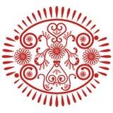亚洲文化启发了婚礼构成坛场无刺指甲花纹身花刺在卵形形状的鞋带装饰由叶子,在红色symb的心脏做成 免版税库存图片