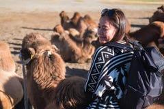 亚洲旅游妇女骑马骆驼在Hunder沙漠,拉达克印度 库存图片