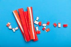 亚洲棍子surimi 替补肉螃蟹和龙虾从鱼胶凝体 免版税图库摄影