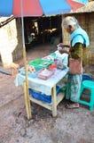 亚洲泰国老妇人人销售食物和盐在禁令Bo Kluea村庄 库存图片