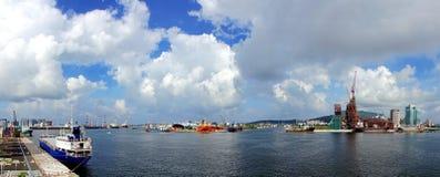 亚洲海湾项目和高雄口岸 免版税库存图片