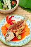 亚洲深鱼油煎的菜单 图库摄影