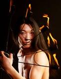 亚洲火人显示 免版税库存照片