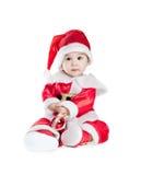 亚洲男婴圣诞节礼服花梢 免版税图库摄影