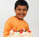亚洲男孩庆祝 免版税库存照片