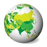 亚洲的空白的政治地图 3D与绿色地图的地球地球 也corel凹道例证向量 向量例证