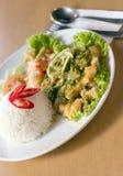 亚洲盘米 免版税库存照片