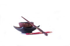 亚洲碗筷子 免版税库存照片