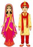 亚洲秀丽 在传统衣裳的动画印地安家庭 向量例证