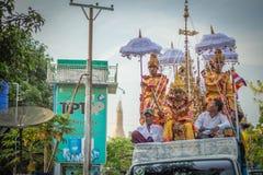 亚洲缅甸水节日在每年4月 免版税库存图片