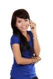 亚洲美丽的电话妇女年轻人 免版税库存照片