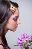 亚洲美好的新娘女孩构成 免版税库存照片