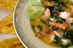 亚洲虾汤菠菜 库存照片