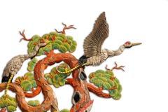亚洲起重机主题寺庙 免版税库存图片
