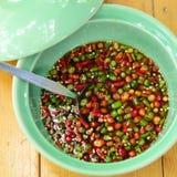 亚洲辣椒少许红色调味汁 库存照片