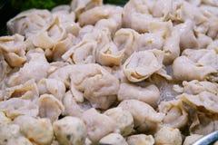 亚洲鱼饺子特写镜头 免版税库存图片