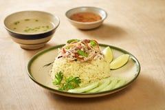 亚洲鸡特写镜头海南米样式 鸡米在会安市,越南 会安市,叫作Faifo 在越南` s广南省的Hoian 库存照片