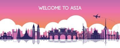 亚洲,旅行目的地,剪影设计, pur的著名地标 皇族释放例证