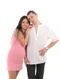 亚洲caucasoid夫妇生怀孕的母亲 图库摄影