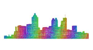 亚特兰大地平线剪影-多色线艺术 库存例证