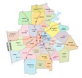 亚特兰大市区乔治亚的行政和政治路线图 向量例证
