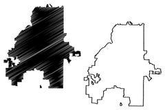 亚特兰大市地图传染媒介 库存例证
