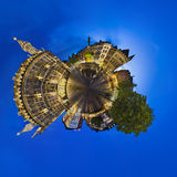 亚琛城镇厅一点行星在晚上,社论 免版税图库摄影