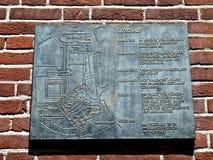 亚琛大教堂的古铜色地图  免版税图库摄影