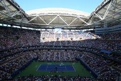 亚瑟・艾许球场在美国公开赛期间的比利・简・金国家网球中心2017天会议 库存照片