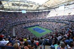 亚瑟・艾许球场在美国公开赛期间的比利・简・金国家网球中心2017天会议 免版税库存图片