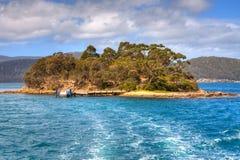 亚瑟停止的小岛端口塔斯马尼亚岛 库存图片