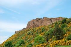 亚瑟` s位子足迹视图在苏格兰 免版税库存图片
