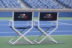 亚瑟Ashe体育场在比利・简・金国家网球中心准备好美国公开赛比赛 库存照片