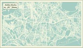 亚的斯亚贝巴埃塞俄比亚在减速火箭的样式的市地图 黑白向量例证 库存例证