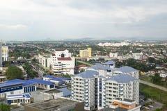 亚罗士打,马来西亚, 2018年1月9日:亚罗士打镇鸟瞰图都市风景位于北马来西亚半岛 免版税库存照片