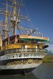 亚美利哥・韦斯普奇tallship,命名以美国的15世纪探险家和同名的人,在热那亚港口,意大利,欧洲 库存照片